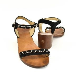 "CHANEL ""Chain"": Black, Leather & ""CC"" Logo Sandals"